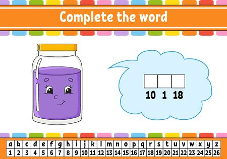 Complete the words. Cipher code. Learning vocabulary and numbers. Education developing worksheet. Activity page for study English. Game for children. Isolated vector illustration. Cartoon character. Ilustração