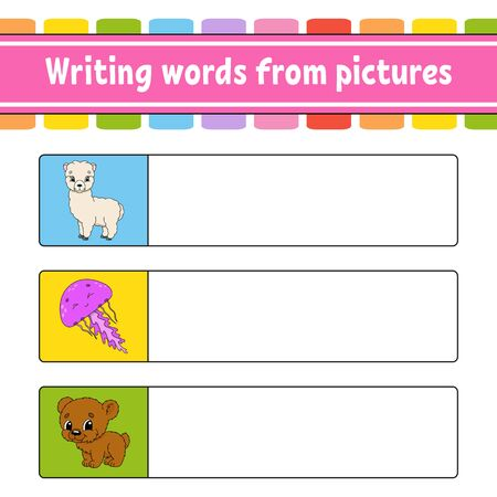 Writing words from pictures. Education developing worksheet. Learning game for kids. Activity page. Puzzle for children. Riddle for preschool. Isolated vector illustration. Cartoon characters.