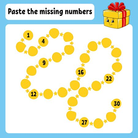 Paste the missing numbers. Handwriting practice. Learning numbers for kids. Education developing worksheet. Activity page. Game for children. Isolated vector illustration in cute cartoon style.