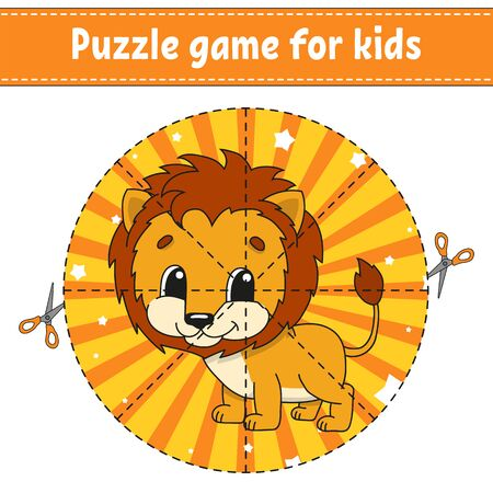 Cut and play. Logic puzzle for kids. Education developing worksheet. Learning game. Activity page. Cutting practice for preschool. Simple flat isolated vector illustration in cute cartoon style.