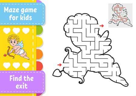 Abstract maze. Game for kids. Puzzle for children. Labyrinth conundrum. Black and color vector illustration isolated on white background. Find the right path. Education worksheet. With answer. Archivio Fotografico - 134959252