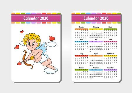 Calendar for 2020 with a cute character. Pocket size. Fun and bright design. Isolated vector illustration. Cartoon style. Archivio Fotografico - 134959312