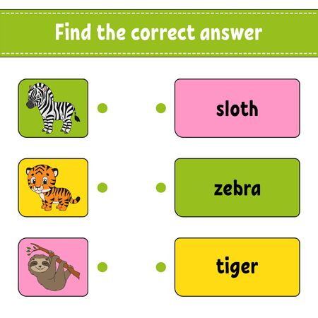 Find the correct answer. Draw a line. Learning words. Education developing worksheet. Activity page for study English. Game for children. Funny character. Isolated vector illustration. Cartoon style.