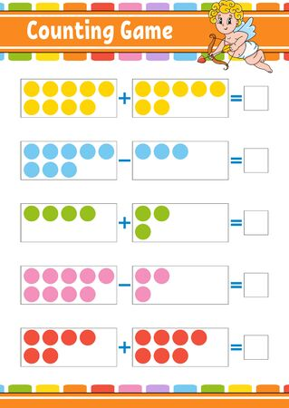 Addition and subtraction. Task for kids. Education developing worksheet. Activity color page. Game for children. Funny character. Isolated vector illustration. Cartoon style. Archivio Fotografico - 134959323