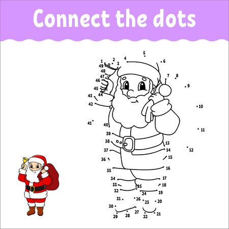 Dot to dot. Draw a line. Handwriting practice. Learning numbers for kids. Activity worksheet. With answer. Game for toddler. Isolated vector illustration. Cute character. Cartoon style.