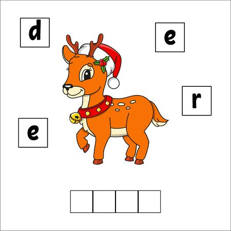 Christmas deer. Words puzzle. Education developing worksheet. Learning game for kids. Activity page. Puzzle for children. Riddle for preschool. Simple flat isolated vector illustration. Cartoon style. Ilustração