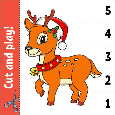 Christmas deer. Learning numbers 1-5. Cut and play. Education developing worksheet. Game for kids. Color activity page. Puzzle for children. Riddle for preschool. Flat isolated vector illustration.