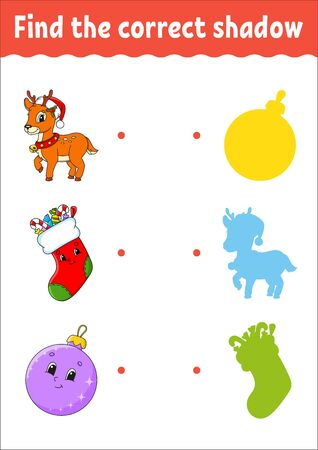 Weihnachten Hirsch. Finden Sie den richtigen Schatten. Arbeitsblatt zur Bildungsentwicklung. Passendes Spiel für Kinder. Aktivitätsseite in Farbe. Puzzle für Kinder. Netter Charakter. Isolierte Vektor-Illustration. Cartoon-Stil.