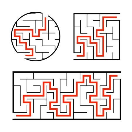 A set of mazes. Game for kids. Puzzle for children. Labyrinth conundrum. Find the right path. Simple flat isolated vector illustration.