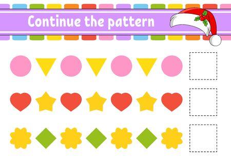 Setzen Sie das Muster fort. Arbeitsblatt zur Bildungsentwicklung. Spiel für Kinder. Aktivitätsseite. Puzzle für Kinder. Rätsel für die Vorschule. Flache isolierte Vektor-Illustration. Niedlicher Cartoon-Stil.