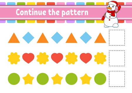 Continue the pattern. Education developing worksheet. Game for kids. Activity page. Puzzle for children. Riddle for preschool. Flat isolated vector illustration. Cute cartoon style. Illustration
