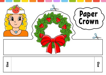 Paper crown template for kids. For games, parties, birthdays, holidays. With a cute cartoon character. Color vector illustration isolated on a white background. Suitable for printing. Ilustracja