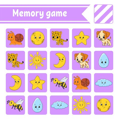 Memory game for kids. Education developing worksheet. Activity page with pictures. Puzzle game for children. Logical thinking training. Isolated vector illustration. Funny character. Cartoon style. Illustration