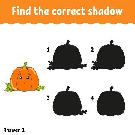 Find the correct shadow pumpkin. Education developing worksheet. Matching game for kids. Activity page. Puzzle for children. Cartoon character. Isolated vector illustration. Illustration
