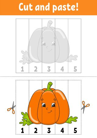Learning numbers 1-5. Cut and glue. Pumpkin character. Education developing worksheet. Game for kids. Activity page. Color isolated vector illustration. Cartoon style. Ilustração