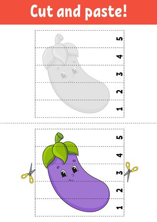 Learning numbers 1-5. Cut and glue. Eggplant character. Education developing worksheet. Game for kids. Activity page. Color isolated vector illustration. Cartoon style.
