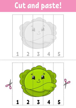Learning numbers 1-5. Cut and glue. Cabbage character. Education developing worksheet. Game for kids. Activity page. Color isolated vector illustration. Cartoon style. Ilustração