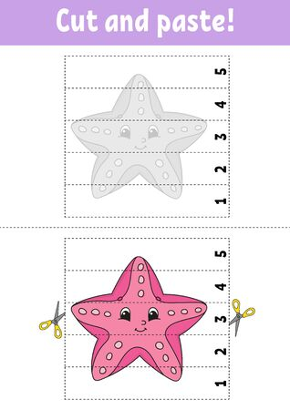 Learning numbers 1-5. Cut and glue. Starfish character. Education developing worksheet. Game for kids. Activity page. Color isolated vector illustration. Cartoon style.