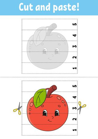 Learning numbers 1-5. Cut and glue. Apple character. Education developing worksheet. Game for kids. Activity page. Color isolated vector illustration. Cartoon style.