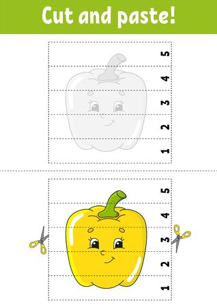 Learning numbers 1-5. Cut and glue. Pepper character. Education developing worksheet. Game for kids. Activity page. Color isolated vector illustration. Cartoon style. Ilustração