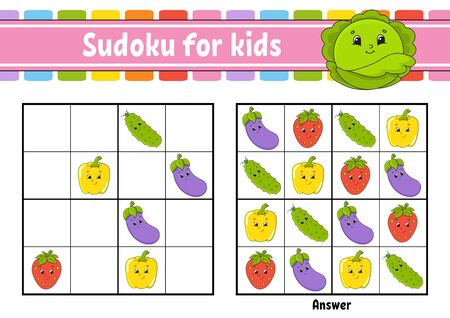 Sudoku for kids. Education developing worksheet. Vegetable, fruit. Cartoon character. Color activity page. Puzzle game for children. Logical thinking training. Isolated vector illustration.