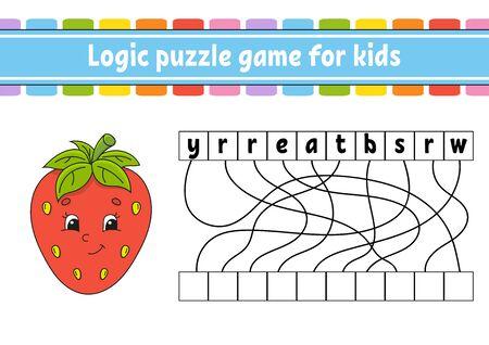 Juego de rompecabezas de lógica. Fresa roja. Aprendiendo palabras para niños. Encuentra el nombre oculto. Hoja de trabajo, página de actividades. Juego de ingles. Ilustración de vector aislado. Personaje animado.