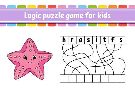 Logic puzzle game. Learning words for kids. Sea starfish. Find the hidden name. Worksheet, Activity page. English game. Isolated vector illustration. Cartoon character.