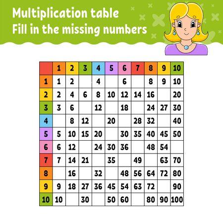 Pega los números que faltan. Aprender la tabla de multiplicar. Práctica de escritura a mano. Hoja de trabajo de desarrollo de educación. Página de actividad de color. Juego para niños. Ilustración de vector aislado en estilo de dibujos animados.