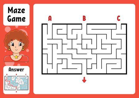 Labirinto rettangolare. Gioco per bambini. Tre ingressi, un'uscita. Puzzle per bambini. Enigma del labirinto. Illustrazione vettoriale di colore. Trova la strada giusta. Con risposta. Personaggio dei cartoni animati. Foglio di lavoro educativo.