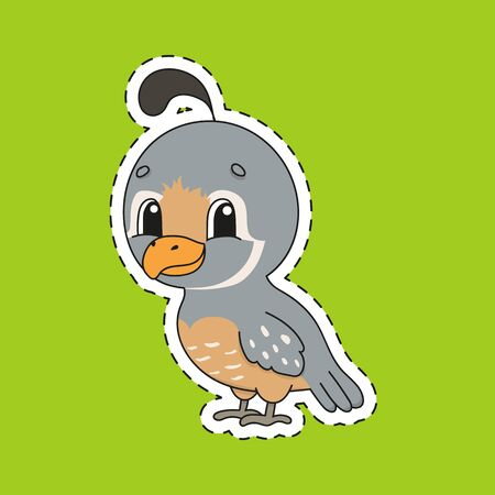 Sticker with contour. Quail bird. Cartoon character. Colorful vector illustration. Isolated on color background. Template for your design.