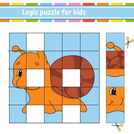 Logic puzzle for kids. Snail mollusk. Education developing worksheet. Learning game for children. Activity page. Simple flat isolated vector illustration in cute cartoon style. Vektorové ilustrace