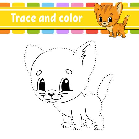 Trace And Color Cat Animal Coloring Page For Kids Handwriting