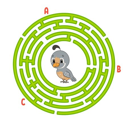 Circle maze. Game for kids. Puzzle for children. Round labyrinth conundrum. Quail bird. Color vector illustration. Find the right path. Education worksheet.