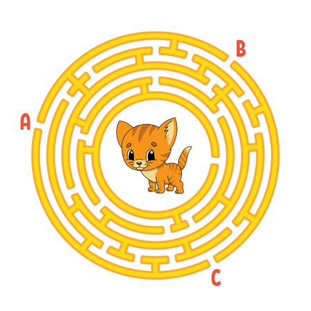 Circle maze. Cat animal. Game for kids. Puzzle for children. Round labyrinth conundrum. Color vector illustration. Find the right path. Education worksheet.
