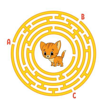 Laberinto circular. Animal gato. Juego para niños. Puzzle para niños. Enigma del laberinto redondo. Ilustración de vector de color. Encuentra el camino correcto. Hoja de trabajo de educación.