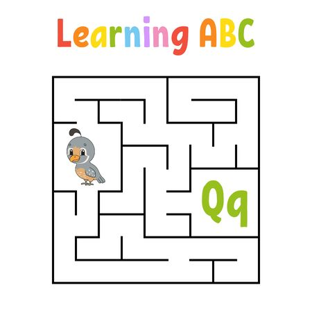 Square maze. Game for kids. Quail bird. Quadrate labyrinth. Education worksheet. Activity page. Learning English alphabet. Cartoon style. Find the right way. Color vector illustration.