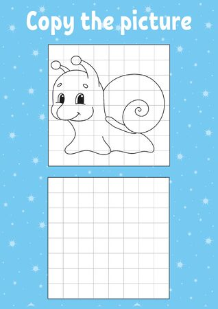 Copy the picture. Snail mollusk. Coloring book pages for kids. Education developing worksheet. Game for children. Handwriting practice. Funny character. Cartoon vector illustration. Ilustração