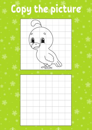 Copy the picture. Coloring book pages for kids. Education developing worksheet. Quail bird. Game for children. Handwriting practice. Funny character. Cartoon vector illustration.