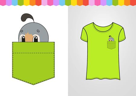 Cute character in shirt pocket. Quail bird. Colorful vector illustration. Cartoon style. Isolated on white background. Design element. Stock Illustratie
