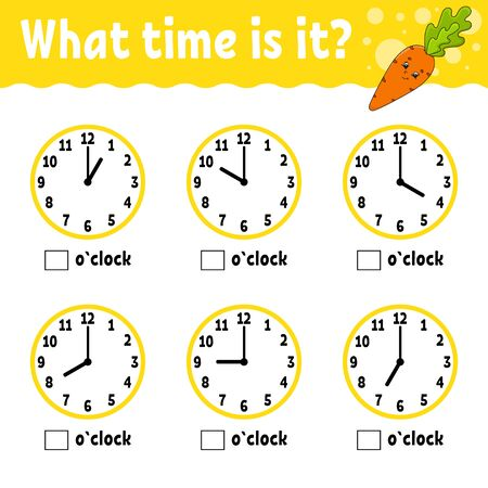 Learning time on the clock. Educational activity worksheet for kids and toddlers. Vegetable carrot. Game for children. Simple flat isolated color vector illustration in cute cartoon style.