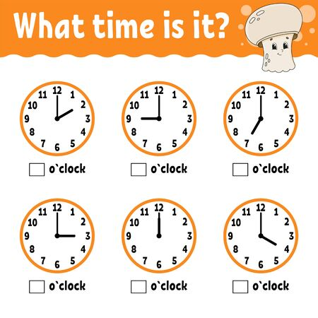 Learning time on the clock. Educational activity worksheet for kids and toddlers. Mushroom champignon. Game for children. Simple flat isolated color vector illustration in cute cartoon style. Ilustracja