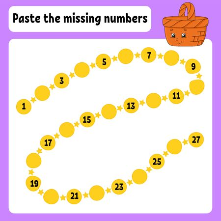 Paste the missing numbers. Handwriting practice. Learning numbers for kids. Wood basket. Education developing worksheet. Game for children. Isolated vector illustration in cartoon style.