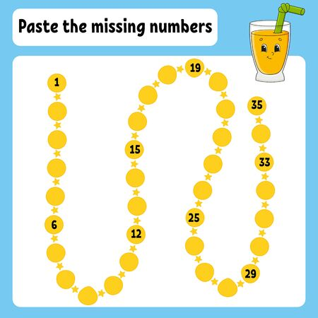 Paste the missing numbers. Handwriting practice. Learning numbers for kids. Education developing worksheet. Color activity page. Glass juice. Isolated vector illustration in cartoon style.