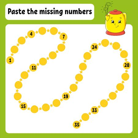 Paste the missing numbers. Handwriting practice. Learning numbers for kids. Education developing worksheet. Color activity page. Game for children. Isolated vector illustration in cartoon style. Ilustracja