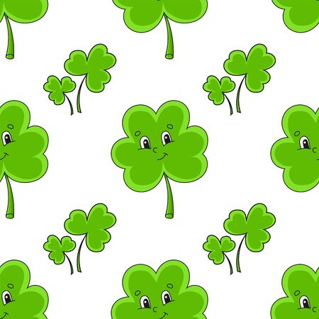 Color seamless pattern. Clover shamrock. St. Patrick 's Day. Cartoon style. Hand drawn. Vector illustration isolated on white background. 벡터 (일러스트)