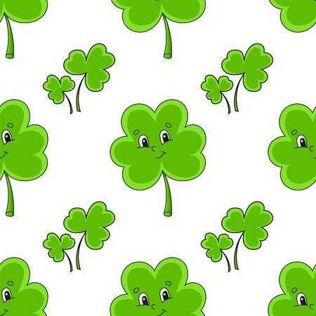 Nahtloses Farbmuster. Kleeblatt. St. Patrick's Day. Cartoon-Stil. Handgemalt. Vektorillustration lokalisiert auf weißem Hintergrund. Vektorgrafik