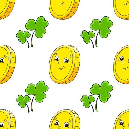 Color seamless pattern. Gold coin. St. Patrick 's Day. Cartoon style. Hand drawn. Vector illustration isolated on white background.