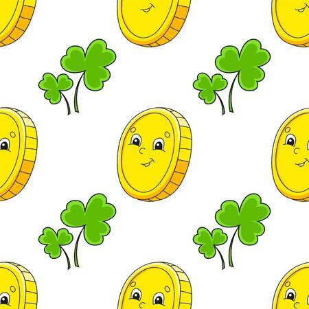 Color seamless pattern. Gold coin. St. Patrick 's Day. Cartoon style. Hand drawn. Vector illustration isolated on white background. Vektoros illusztráció