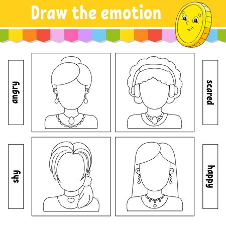 Draw the emotion. Worksheet complete the face. Coloring book for kids. Cheerful character. Vector illustration. Black contour silhouette. Isolated on white background.