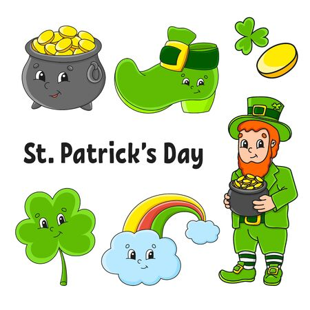 Set of color stickers for kids. Leprechaun with a pot of gold, boot, gold coin, clover, magic rainbow. St. Patrick 's Day. Cartoon characters. Black stroke. Isolated vector illustration. Illusztráció